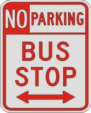 NO PARKING BUS STOP with Double arrow sign R7-107