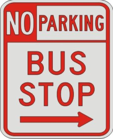 NO PARKING BUS STOP with right arrow sign R7-107