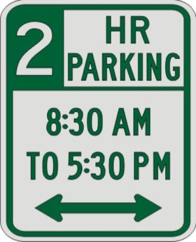 2 HOUR PARKING with Times & Double Arrow sign R7-108