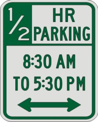 Half Hour PARKING with Times & Double Arrow sign R7-108c