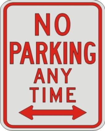 NO PARKING ANY TIME with Double Arrow SIGN R7-1