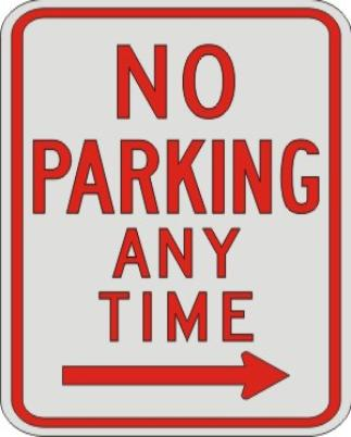 NO PARKING ANY TIME with right arrow R7-1