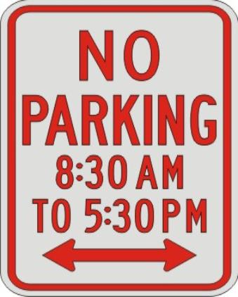 NO PARKING with times & double Arrow R7-2