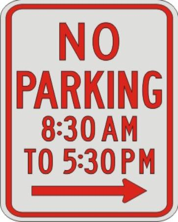 NO PARKING with times & right Arrow R7-2