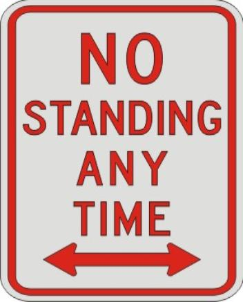 NO STANDING ANY TIME with Double Arrow sign R7-4