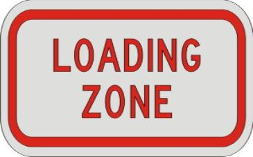 LOADING ZONE sign R8-3b