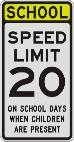 CHOOL SPEED LIMIT 20 WHEN CHILDRENARE PRESENT sign